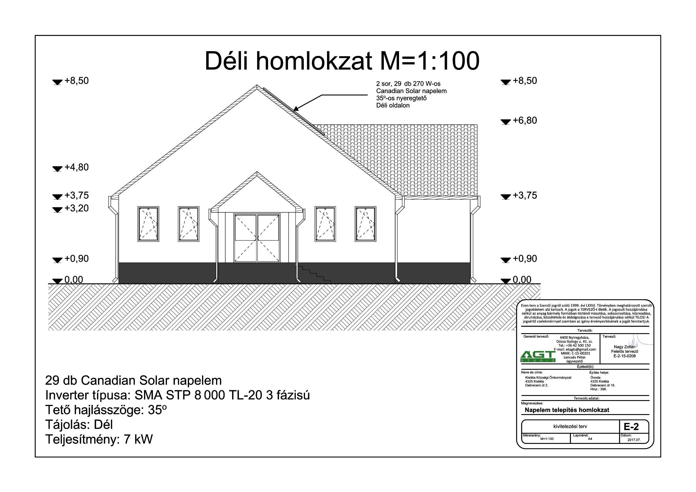 ÓVODA - E-2 Napelem tervezés homlokzat-1