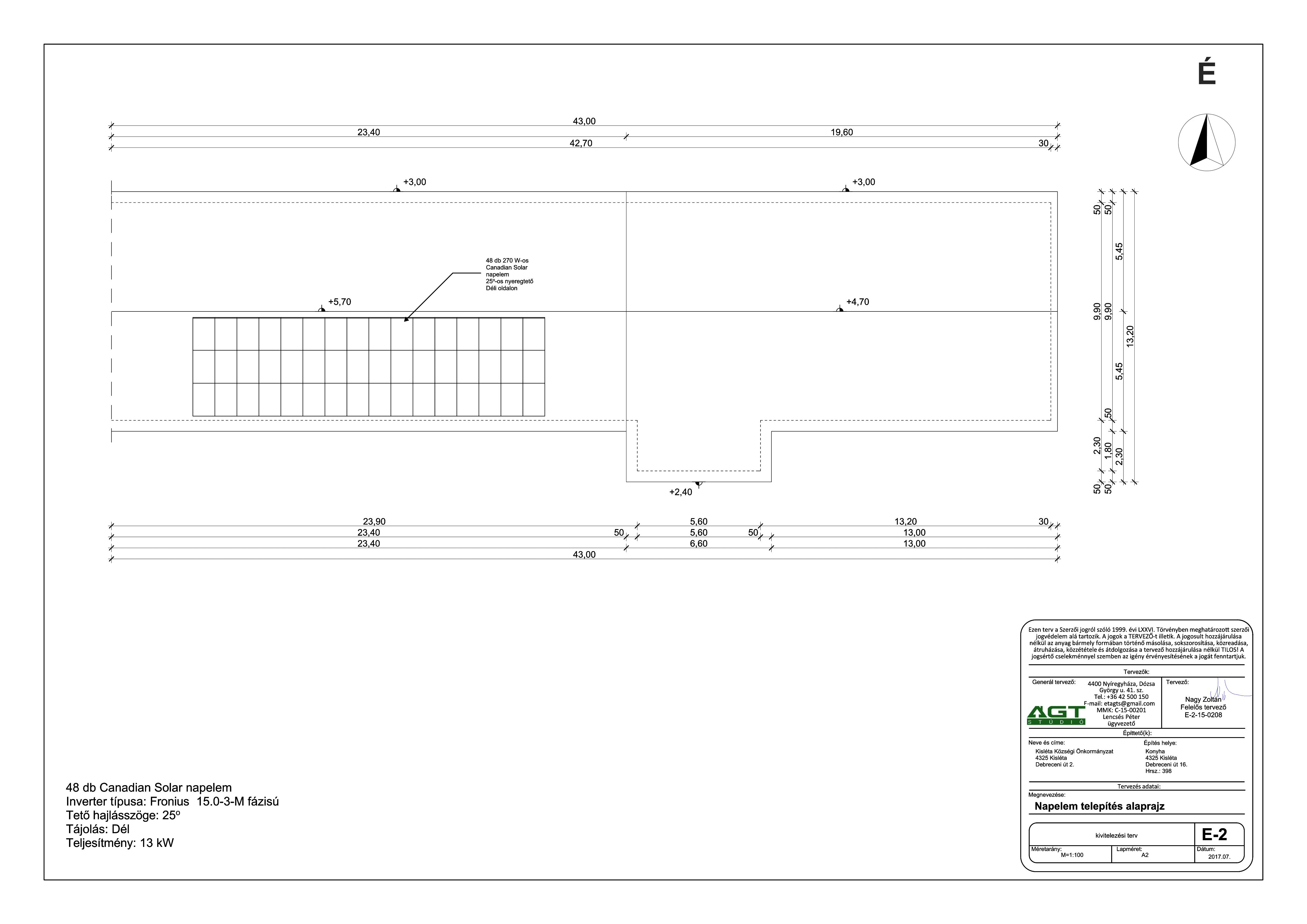 Kisléta - Iskola - Napelem telepítés - tetőfelülnézet-1