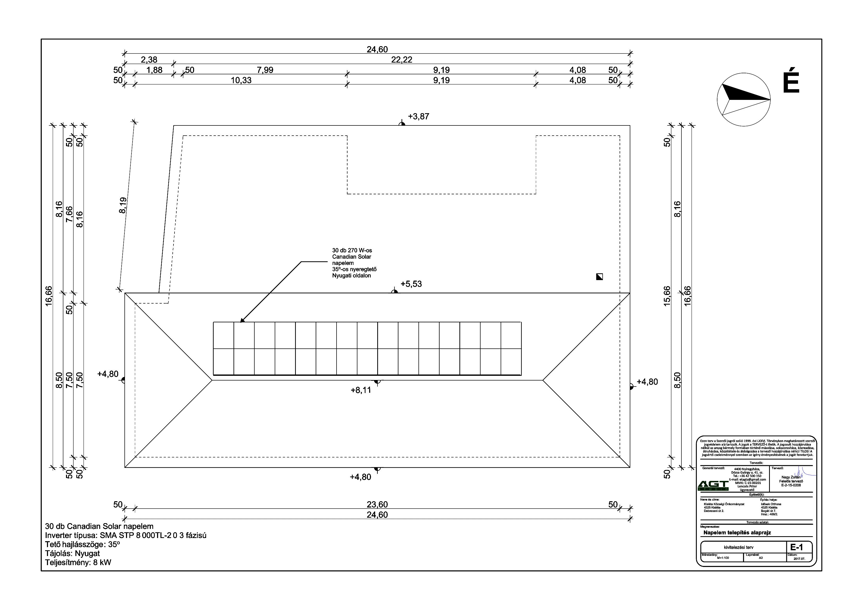 IDŐSEK OTTHONA - E-1 Napelem tervezés alaprajz