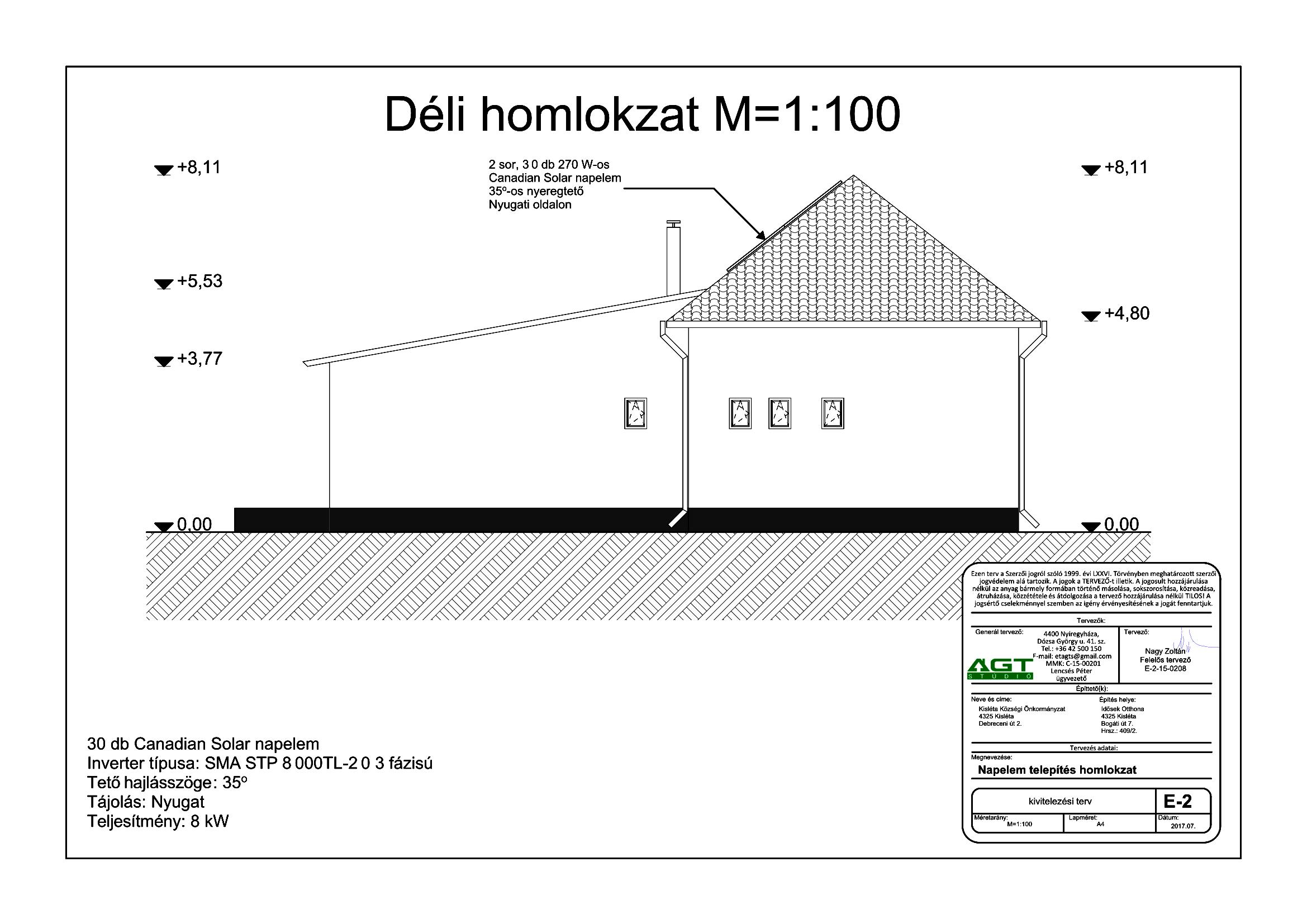 IDŐSEK OTTHONA - E-2 Napelem tervezés homlokzat